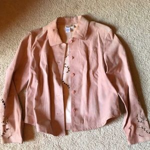 Pink leather jacket women's size small